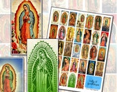 Our Lady of Guadalupe domino digital collage sheet 1x2 25mm x 50mm clouds Virgin Southwestern art
