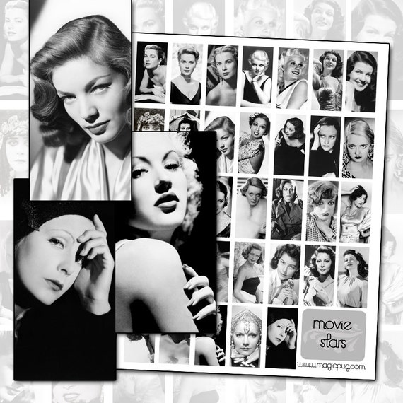Classic Movie Stars Digital Collage Sheet - Grace Kelly Joan Crawford Bette Davis silent movie stars 25mm x 50mm 1x2 inch