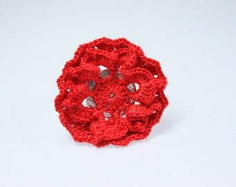 Ring with Red Crochet Flower - Adjustable