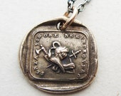 Courage - Italian motto wax seal necklace in Bronze - Without Fear, Shield, Sword and Battleaxe