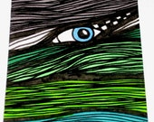 Original Drawing ACEO Green Welsh Hills With Eye Design