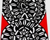 Original Drawing ACEO Black and White and Red Design
