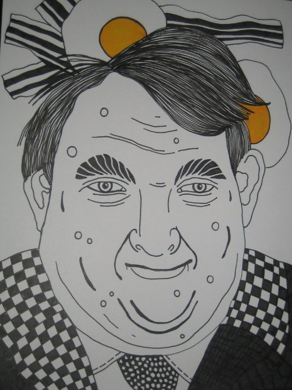 PEN and INK Drawing....Bacon and Eggs Head Man