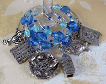 PASSOVER 6 jewish hebrew judaica pewter wine glass charms with blue and aqua czech crystals
