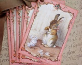 Vintage Rabbit Tags - Tea Tags - Tea Drinking Rabbit Tags, Bunny Tags, Pink- Set of 6