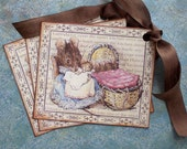 Gift Tags - Vintage Mouse - Hunca Munca Tags - Beatrix Potter - Set of 3