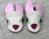 White Rabbit Wool Baby Slippers fits 6-12 months old made from recycled materials