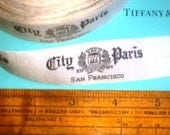 1 Yard City of PARIS new old stock woven ribbon labels SAN FRANCISCO