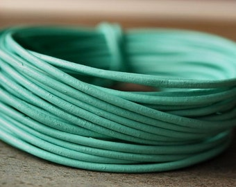 1.5mm Round Leather Cord Mint Green : 15 Feet Genuine Leather Cord