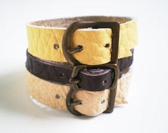 Three Leather bracelets, buckle bracelets in brown-vanilla shades, real leather bracelets