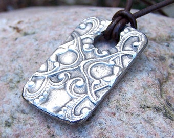 Victorian Pattern Necklace, Embossed Pendant Design, Rustic Jewelry, Large Tag Pendant, Hand Cast Pewter Necklace