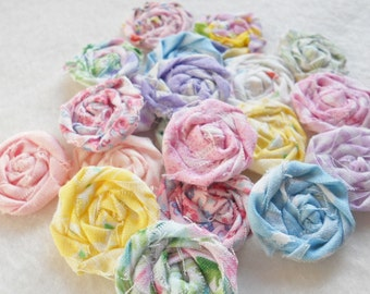 "Pastel Fabric Flowers Easter Wedding Roses Rolled Applique Hairclip Pinwheel Lollipop Bobby Pin Rosette 1"" Scrapbook Handmade Wholesale 20"