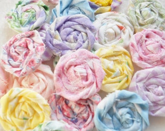 "Pastel Rolled Roses Candy Applique Fabric Flowers Hairclip Pinwheel Lollipop Bobby Pin Rosette 1"" Scrapbook Handmade Wholesale 40"