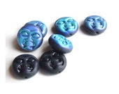 Black Blue ab color Moon Glass Beads Man On The Moon Full Face