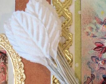 Vintage / Tiny White Satin Rose Leaves / One Dozen / Made in Japan