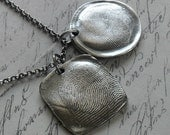 Fine Silver Fingerprint - Rounded Square Shape - Sterling Silver Necklace