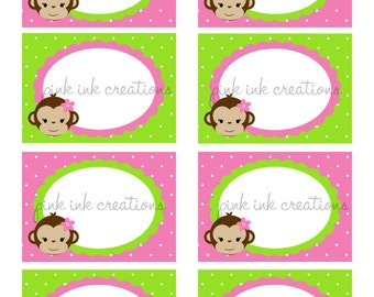 Monkey Girl Food Labels / Monkey Candy Jar Labels / Monkey Place Cards / Monkey Food Labels / Monkey Tent Cards / INSTANT DOWNLOAD/Printable