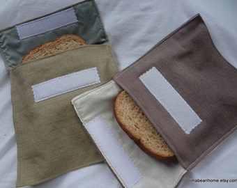 Reusable sandwich/snack bag set with velcro flap in hemp--you choose the color--FREE SHIPPING