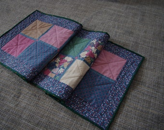 Country Quilted Table Runner, Blue, Pink, Gold, Vintage Look, Floral