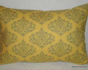 Decorative-Accent-Throw Pillow Cover-Free US Shipping-12 x 18 inch Mustard and Gray Damask