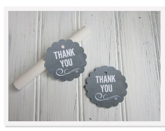 Chalkboard Favor Tags, Wedding Thank You Tags, Scalloped Round Chalkboard Favor Tags, Blackboard Tag, Shower Gift Tag, Small Favor Tag, t003