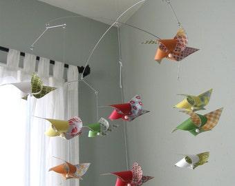 Baby Crib Mobile / Pinwheel Mobile / Colorful / Boy or Girl Mobile / Custom Baby Crib Mobile / Red, Orange, Green, Yellow and White : Fiesta