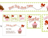 Butterfly Cupcakes Etsy Shop Design Set