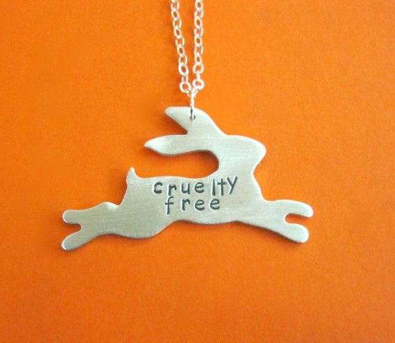 Vegan Necklace-Leaping Cruelty Free Bunny Necklace-Rescue Rabbits-Gift-Birthday-Anniversary-Rabbit Necklace-House Rabbits-Eco Friendly