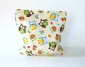 Reusable Snack Bag - Reusable Sandwich Bag - Large Size - Owls - Eco and Kid Friendly
