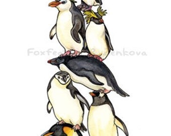 Penguin Stack Painting Print - Wall art, bird stack