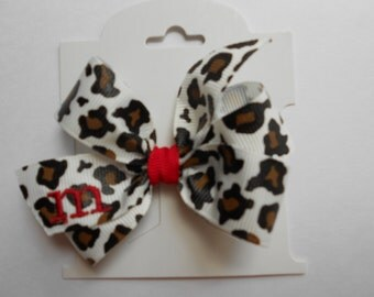 Monogrammed Leopard Print Infant Hair Bow