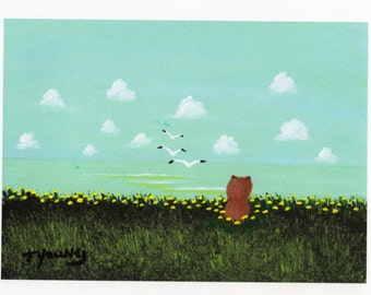 Pomeranian Dog Folk Art PRINT Todd Young painting By the Sea