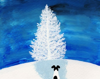 Smooth Fox Terrier Dog Modern Folk Art PRINT of Todd Young painting White Tree