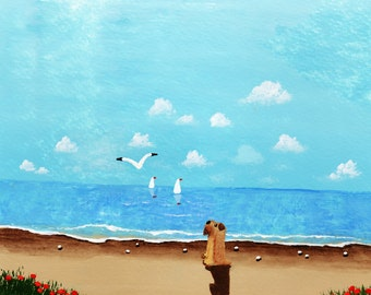 Soft coated Wheaten Terrier dog seascape LARGE art print by Todd Young At the Beach