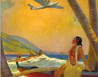LARGE 20x24 Canvas CHINA CLIPPER Honolulu Hawaii Art Deco Airplane Travel over Diamond Head 1930s American, Twa, Pan Am United Airlines