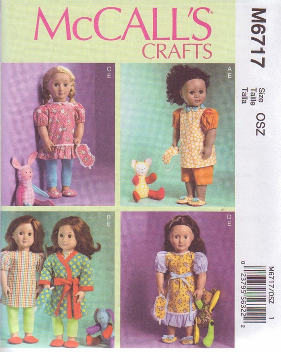 McCalls 6717 (2013) Pattern for 18 inch Doll Clothes Mask Slippers Toy BRAND NEW Uncut