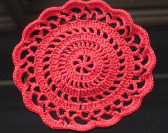 """New Handmade Crocheted """"Elegance"""" Coaster/Doily in Victory Red"""