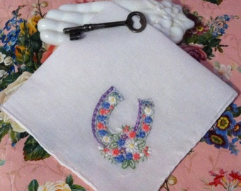Good Luck Horseshoe Delicate Embroidered Flowers Hankie Handkerchief