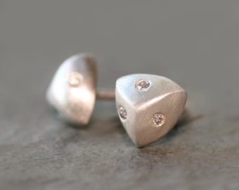 Puffy Triangle Stud Earrings Sterling Silver with Diamonds