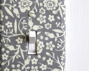 Light Switch Plate Cover, wall decor - gray with cream flowers