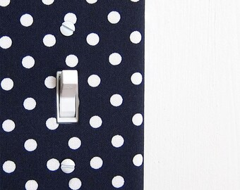 Fabric Light Switch Plate Cover, wall decor - navy blue with white polkadots