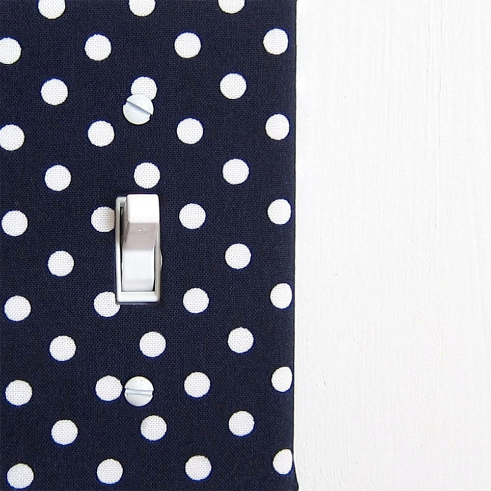 Decorative Wall Light Covers : Fabric light switch plate cover wall decor navy by maisonwares