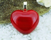 Glass Heart Pendant .. Deep RED. .. Choice of GOLD or SILVER Plated Bail Fitting - Gift Boxed