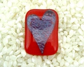 Fused Glass Brooch .. Scarlet Red with Teal Blue Heart.. Silver Tone Fitting