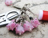 Knitter's Chatelaine: Flying Pigs - Stitch Markers, Row Counter & Folding Scissors on a Decorative Clasp