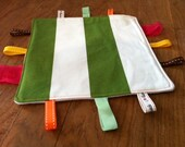 Green and White Stripe Baby Tag Blanket 'Taggy'