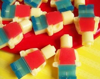 Building Block Men Soap Set - Block Man, Watermelon, Kids Soap, Boys Soap, Bath Soap, Building Blocks, Mini Soap, Party Favors, Birthday