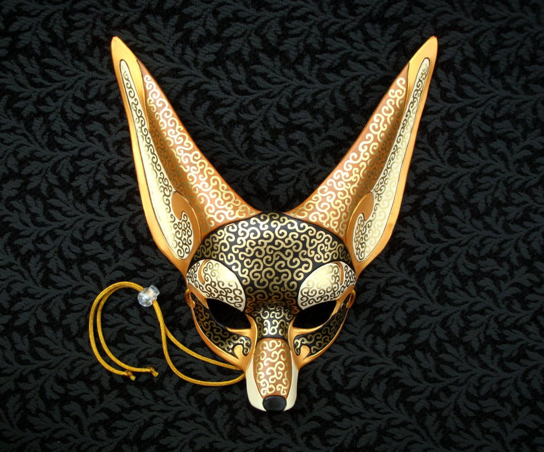 venetian fennec fox mask handmade leather fennec by. Black Bedroom Furniture Sets. Home Design Ideas