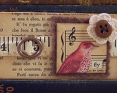 Bird Magnet - Mixed Media Collage Magnet -  Altered Art Magnet - Sparrow Magnet - Refrigerator Magnet - Office Supply