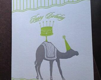 Letterpress Camel Birthday Card